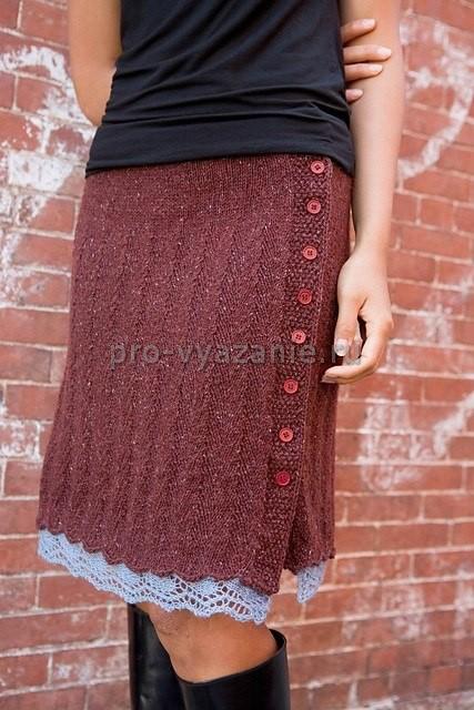 вяжем спицами теплую юбку с запахом