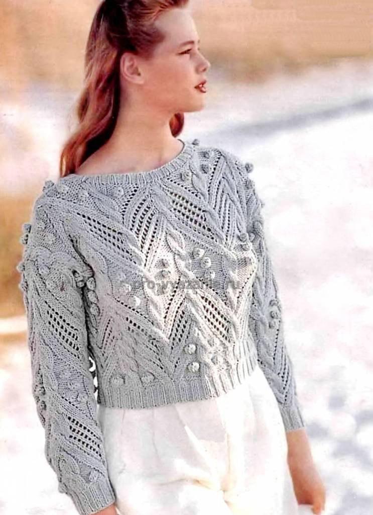 Короткий пуловер спицами