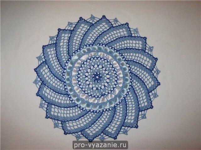 Вязание крючком ажурной салфетки